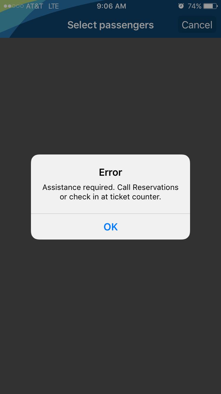 Error screen in Alaska app
